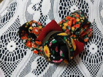 和洋薔薇・ビロード花柄バレッタの画像