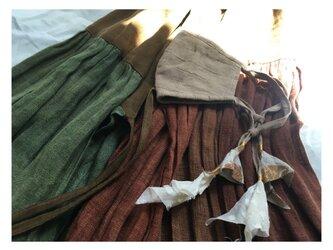 しましまリネンのリネンマスク(インドの布の画像