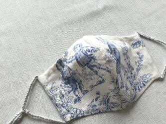 パリ購入生地トワル・ド・ジュイ7 立体マスクノーズワイヤーポケット、フィルターポケット付き) 大人Mサイズ 1枚の画像