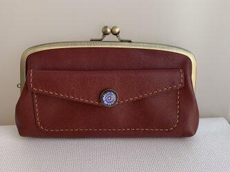 【送料無料】外ポッケが付いた、本革親子がま長財布(ワインレッド色レザー)の画像