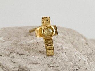 K24◇純金の十字架◇ローズカット・イエローダイヤモンド クロス・スタッドピアス(片耳)の画像