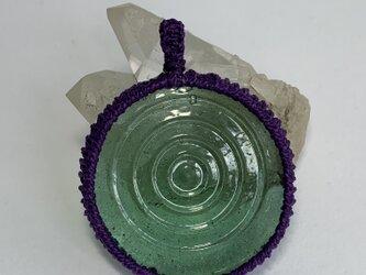 昭和レトロ♪和ガラス編み編みペンダント♪(水紋)の画像