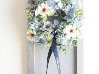 秋桜と紫陽花のアートフラワー★フレームリースの画像