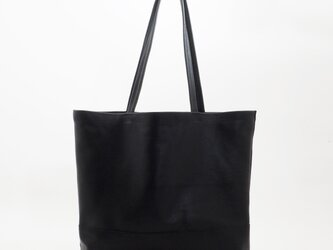 goat leather large tote2(黒)/山羊革/T032の画像