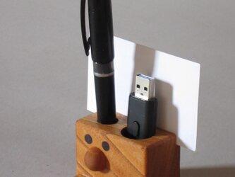■卓上 ハンコ・ ペン立(穴径21・13)カード・ゼムクリップホルダー付■ 約W60xD61xH48の画像