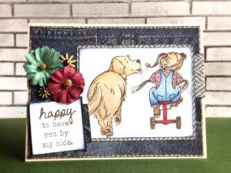ゴールデンレトリーバーと女の子のカードの画像