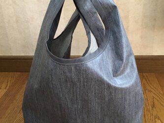デニムラミネート生地・・コンビニ弁当にも対応するバッグの画像
