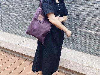 刺し子ポッケのエコバッグ【折り畳み・リバーシブル!】パープルの画像