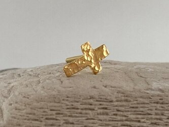 K24◇純金の十字架◇クロス・スタッドピアス(片耳)の画像