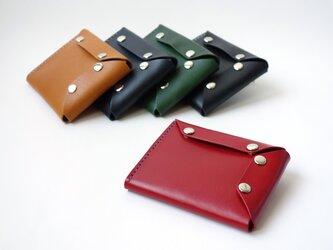 コンパクトで出し入れしやすい ホックボタン式財布【本革/受注生産 革5色・糸10色】の画像