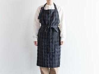 TE-002C [日本製品染め]リネン カフェエプロン(チェックプラムグレー)teintの画像