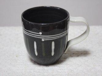 白細帯としのぎ模様のコーヒーカップの画像