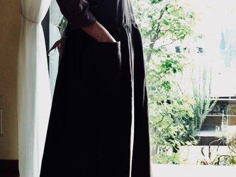 秋色エプロンワンピースドレス ダークブラウン おうち時間 の画像