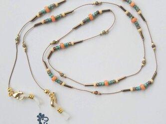 オレンジクォーツとシルクのグラスコード&ロングネックレス(#816)の画像