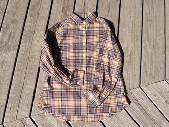 1点のみ 『traditional』 柔らかコットン 播州織 チェック 丸襟シャツ の画像