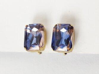【ビンテージ 西ドイツ製ガラス バイオレット・ローズ  イヤリング】紫 1950年代 の画像