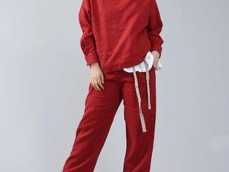 【wafu】薄地 雅亜麻 リネン ブラウス カフスシャツ 袖 ドロップショルダー トップス/紅色 t002a-bne1の画像
