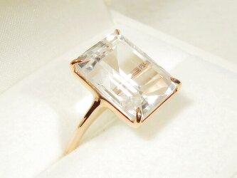 12.85ct水晶とSV925の指輪(リングサイズ:12号、ブラジル産、ピンクゴールドの厚メッキ、4月の誕生石)の画像