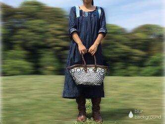 草木染めパッチワーク デニムマキシワンピース 藍染 インディゴ[1402]の画像