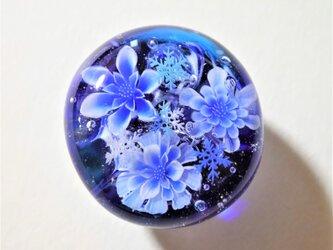 《氷華~雪の結晶》 帯留め ガラス とんぼ玉 着物 浴衣の画像