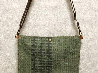 裂き織り 薄抹茶色のフラットなポシェット(送料無料)の画像