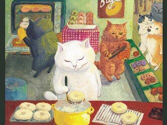 カマノレイコ オリジナル猫ポストカード「ベーグル屋さん」2枚セットの画像