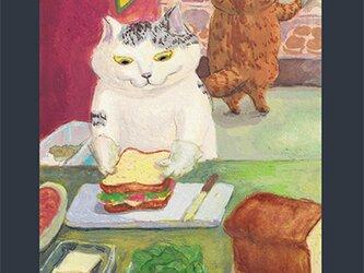 カマノレイコ オリジナル猫ポストカード「仕事」2枚セットの画像