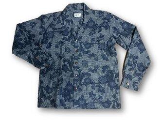 2 大島紬リメイク メンズ長袖シャツ(ブルー系花柄・M)の画像