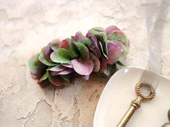 紫陽花のバレッタ ■ 秋色のビッグシルエット ■ パープルグリーンの画像