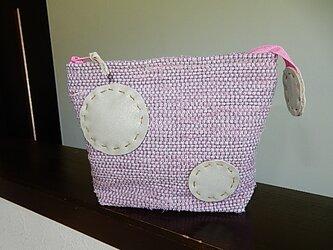 送料無料 裂き織のポーチ ピンクの画像