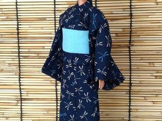 「とんぼ舞う浴衣…紺」28~30cmドール着物の画像