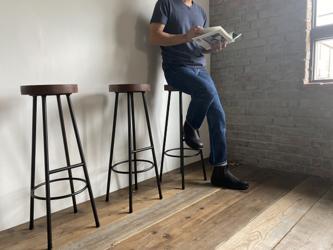 数量限定 WS-H800-LS 足置き付き ハイスツール 椅子 イス レッグステップ チェアー 無垢材 カウンターチェアの画像