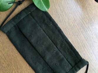 レース刺繍のプリーツマスク・ブラック・ノーマルサイズの画像