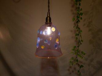 耐熱ガラスのランプシェード 水玉うす紫の画像
