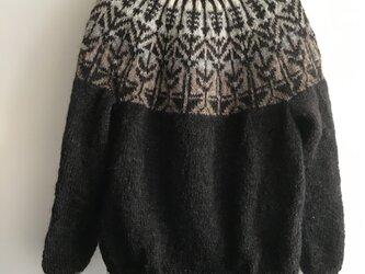 アイスランドロピ 手編みセーター グラデーションの画像