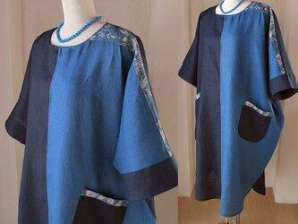 リネン 絵画な3色パッチワーク ゆったり コクーンドレープワンピース YUWA ネイビー ブルー グリーンの画像