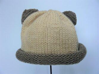 幼児用ねこ耳帽子の手編みキット(茶色×ベージュ)の画像