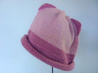 幼児用ねこ耳帽子の手編みキット(ピンク濃淡)の画像