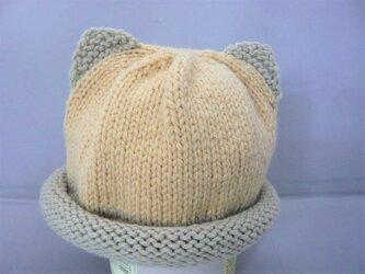 幼児用ねこ耳帽子の手編みキット(ミント×クリーム色)の画像
