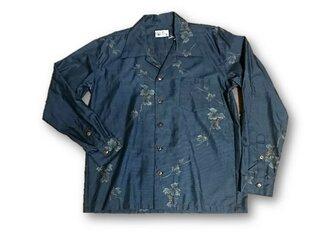 4 大島紬リメイク メンズ長袖シャツ(ブルー系花柄・M)の画像