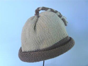 草木染毛糸の三つ編み帽子1~3才用 CH-13の画像