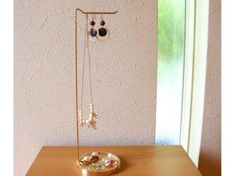 【職人直送】真鍮無垢 アクセサリー スタンド ジュエリースタンド / ピアス ネックレス 掛け 指輪 イヤリング 収納の画像