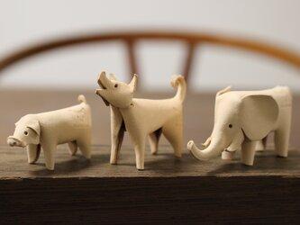 【手作りキット】【3種セット】 自分で作る革製インテリア雑貨 3種セット ぶた、いぬ、ぞうの画像