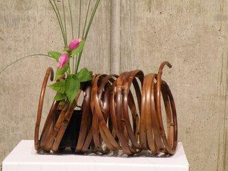 燻煙千島笹 鳳尾竹 オブジェ 置き花籠の画像