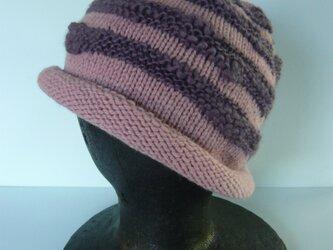 【Sale】草木染毛糸の手編み帽子 AD-262の画像