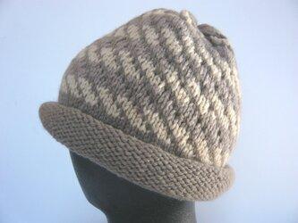 【Sale】草木染毛糸の手編み帽子 AD-245の画像