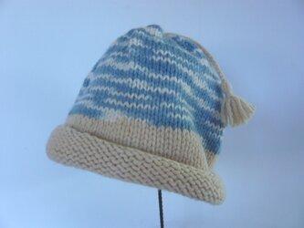 草木染毛糸の子供用手編み帽子 CH-124の画像