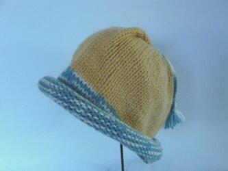 草木染毛糸の子供用手編み帽子 CH-125の画像