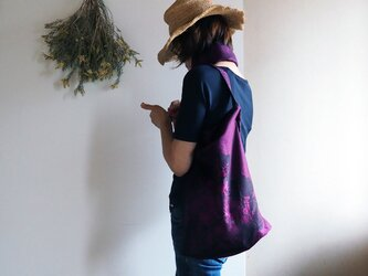【選べる2サイズ】大きすぎないおしゃれなエコバッグ 紺×ピンクワインの着物コートからの画像