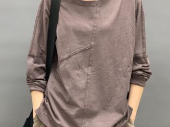 秋 長袖ラウンドネックコットンTシャツ カジュアル  レディース セーター トップス コットン シャツ ゆっだり 通学 通勤の画像